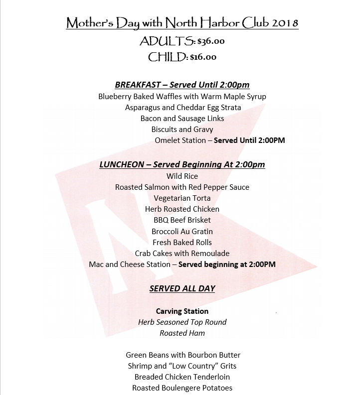 Mother's Day Menu 2018